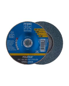 "DISCO TRASLAPADO POLIFAN  METAL INOXIDABLE 7"" GRANO 60 PSF (CAJA 10 UDS.) PFERD"